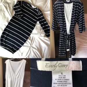 Maternity/Nursing robe and top with newborn gown
